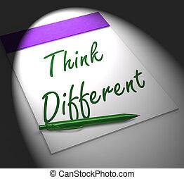 認為, 不同, 筆記本, 顯示, 靈感, 以及, 革新