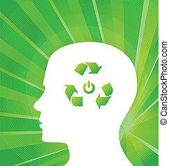認為, 綠色, 矢量, 概念