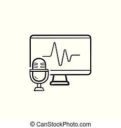認識, アウトライン, いたずら書き, icon., 手, 引かれる, tv, 声, スクリーン