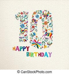 誕生日おめでとう, 10, 10, 年, 花, 装飾