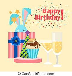 誕生日カード, うさぎ, 幸せ