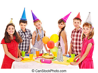 誕生日パーティー, グループ, の, 子供, ∥で∥, cake.