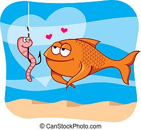 誘餌, fish, 矢量, 愛
