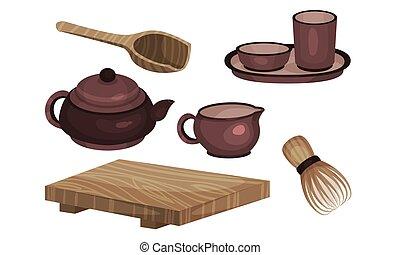 說明, 儀式, 茶, 矢量, 陶器, 集合