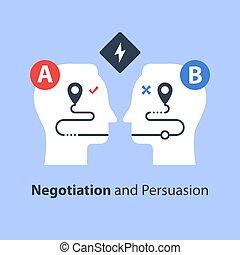 説得, 2, 概念, コミュニケーション, 交渉, 側, 共通, 地面