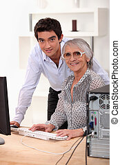 説明, 使用, 彼の, 孫, 祖母, いかに, コンピュータ