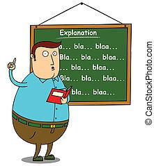説明, 教師, 脂肪, 主題