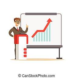 説明, whiteboard, 寄付, グラフ, イラスト, ベクトル, 成長, ビジネスマン, 微笑, プレゼンテーション