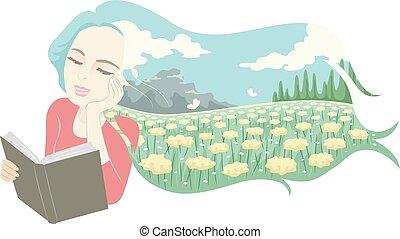 読まれた, イラスト, 日の 夢を見ること, 女の子, 牧草地