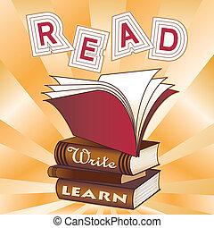 読まれた, 書きなさい, learn!