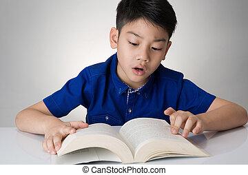 読まれた, 男の子, わずかしか, 本, アジア人