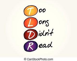 読まれた, -, tldr, didn't, 長い間, 頭字語