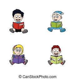 読む本, イラスト, 子供