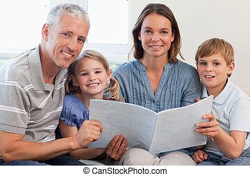 読む本, 一緒に, 家族, 幸せ