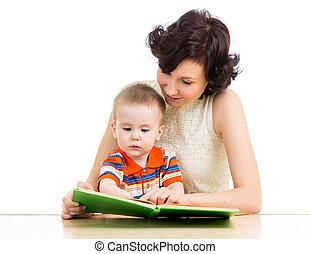 読む本, 母, 彼女, 子供