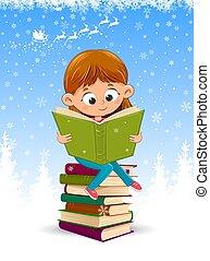 読む本, 赤ん坊, クリスマス, 女の子