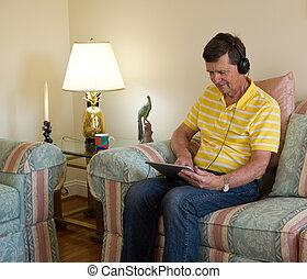 読書, コンピュータ, boomer, タブレット
