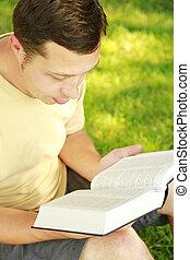 読書, 人, 若い, 聖書