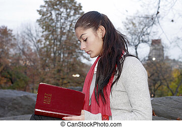 読書, 女の子, 公園, 聖書