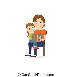読書, 娘, 本, 母