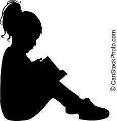 読書, 子供, シルエット, 本
