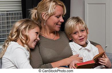 読書, 子供, 母