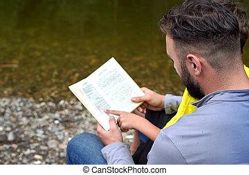 読書, 子供, 背中, ハイキング, 本, 屋外で, の間, 射撃