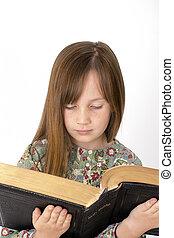 読書, 子供, 若い, 聖書