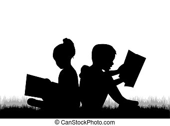 読書, 子供, book.