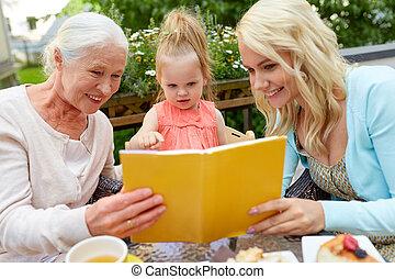 読書, 家族, 本, 台地, カフェ, 幸せ