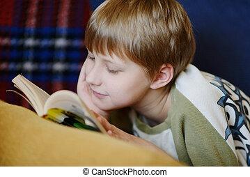 読書, 家, 男の子