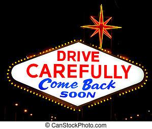"""読書, 後退しなさい, 印, vegas, """"drive, carefully"""", las"""