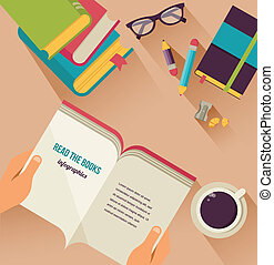 読書, 本, デスクトップ, セット, の, 平ら, アイコン