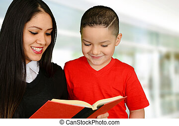 読書, 母, 彼女, 子供