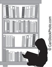 読書, book., 女の子, シルエット