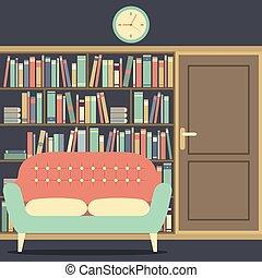 読書, bookcase., 巨大, 席
