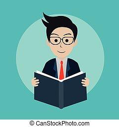 読書, idea., book., concept., 勉強, ベクトル, 創造的, イラスト, icon., ビジネスマン, 教育