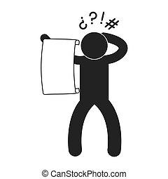 読書, pictogram, 大きい, イメージ, 人, ペーパー, 小片, アイコン
