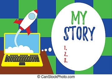 誰か, story., もの, 始動, バックグラウンド。, ラップトップ, 単語, 執筆, 雲, growing., 私, ∥あるいは∥, 持ちなさい, から, 起きた, 成功した, 発射, 生活, ロケット, ビジネス 概念, テキスト, 状態