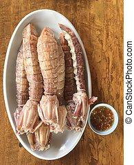 調味汁, 辣, 蒸, 螃蟹