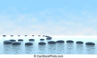 調和, concept., 小石, 道, 上に, 水