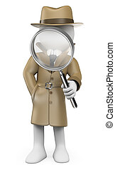 調査官, 人々。, 私用, 白, detective., 3d