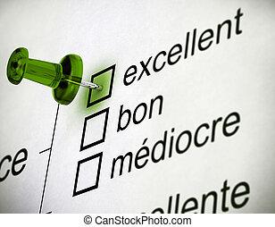 調査, 品質, フランス語
