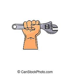調節可能, 手, ベクトル, レンチ, 保有物, 漫画, 人