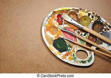 調色板, 紙,  Paintbrushes, 骯髒, 紙板