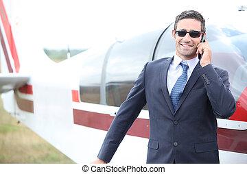 談笑する, 経営者, 電話, 飛行機, 前部, 小さい