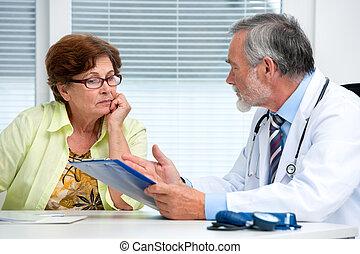 談話, 他的, 病人, 女性, 醫生