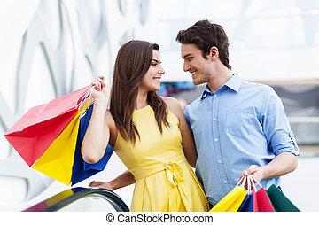談話, 夫婦, 上, 購物