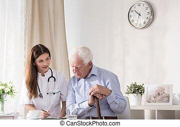 談話, 年長者, 醫生, 人