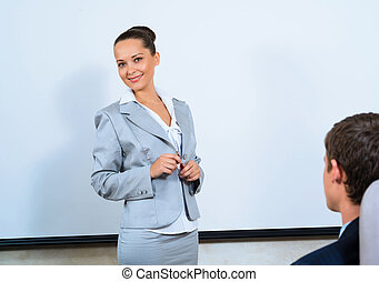 論じる, ビジネス 女, ∥で∥, 同僚